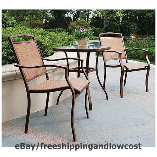 3 Piece Outdoor Bistro Sling Patio Chairs Steel Frames Set Seats 2 Glass Table Ebay