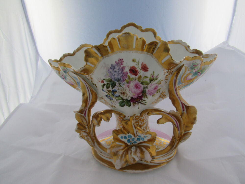 Antique french porcelain centerpiece vase summer floral