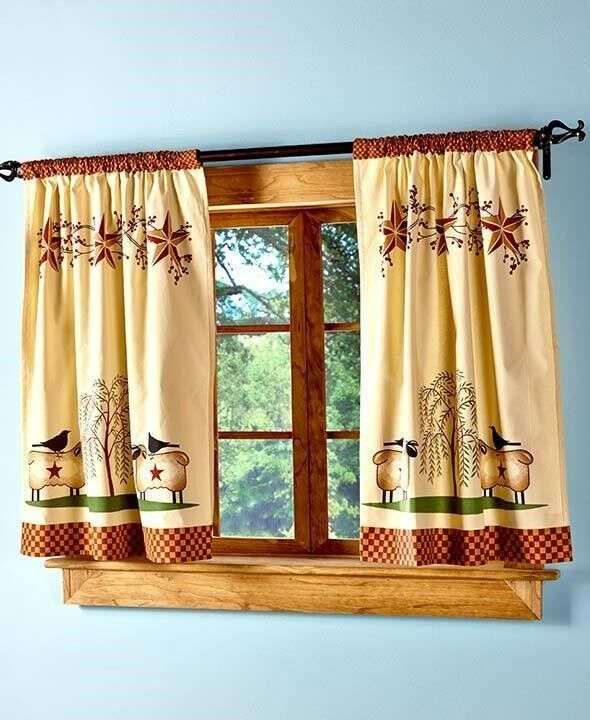 country kitchen valances primitive willow window tier curtain set country rustic 2922