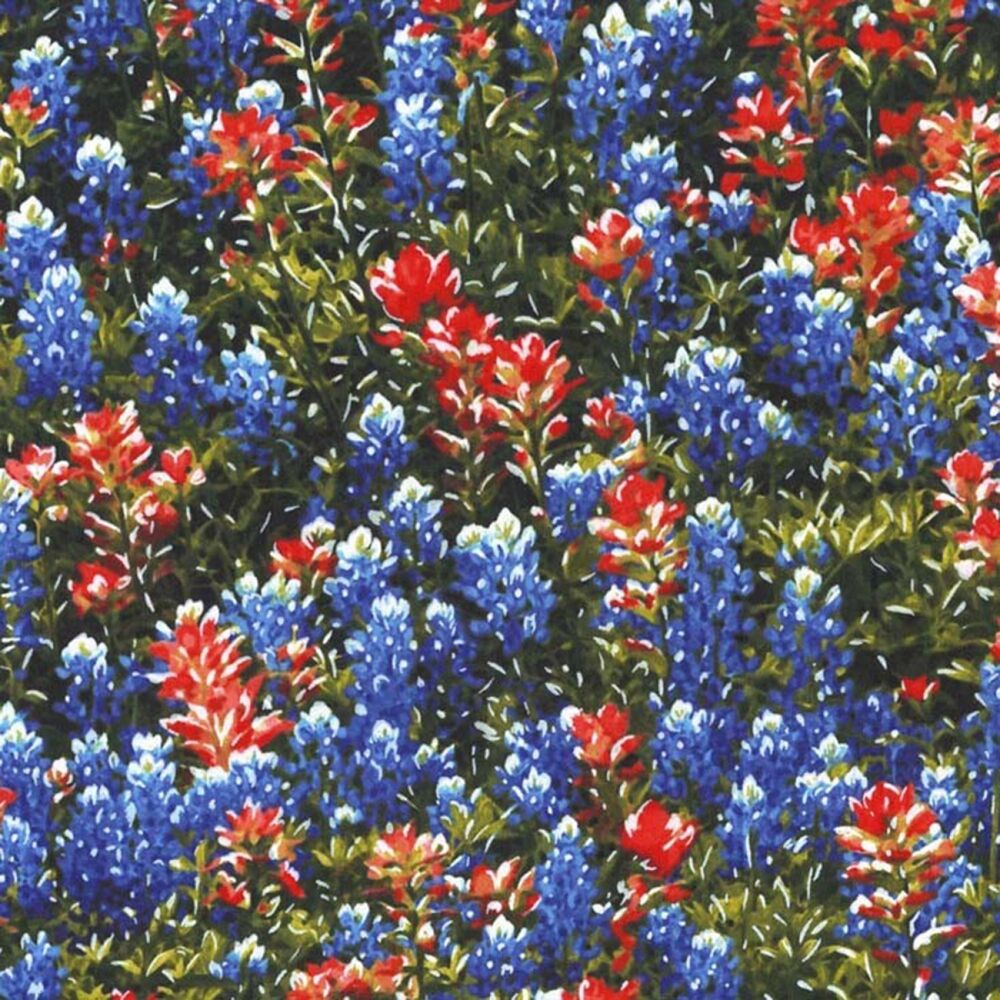 Fabric Flowers Texas Wild Bluebonnets On Cotton By The 1 4
