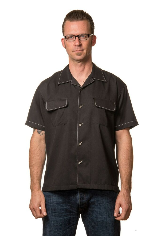 Steady clothing musician guitar mens button up bowling for Guys button up shirts