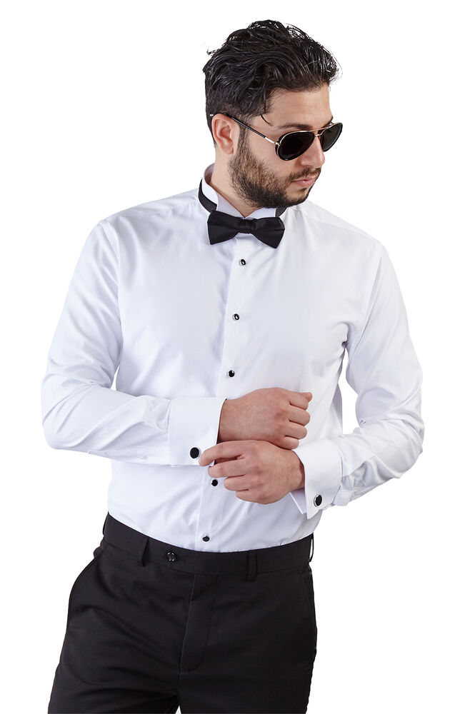 New mens slim fit white wing tip tuxedo dress shirt french for Mens white french cuff shirt