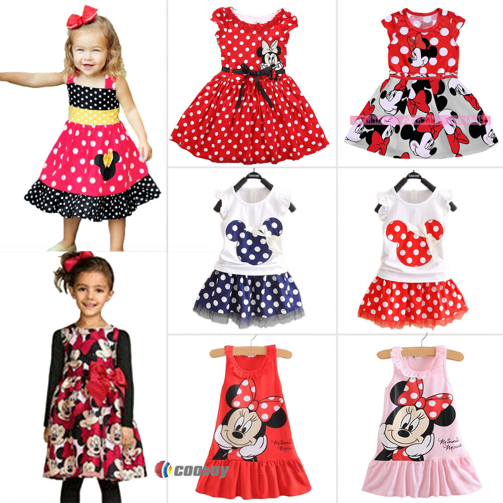 Kids Baby Girls Micky Minnie Mouse Party Tutu Dresses