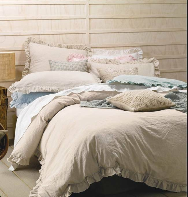 Shabby Natural Linen Rag And Ruffles Queen Bed Doona Duvet