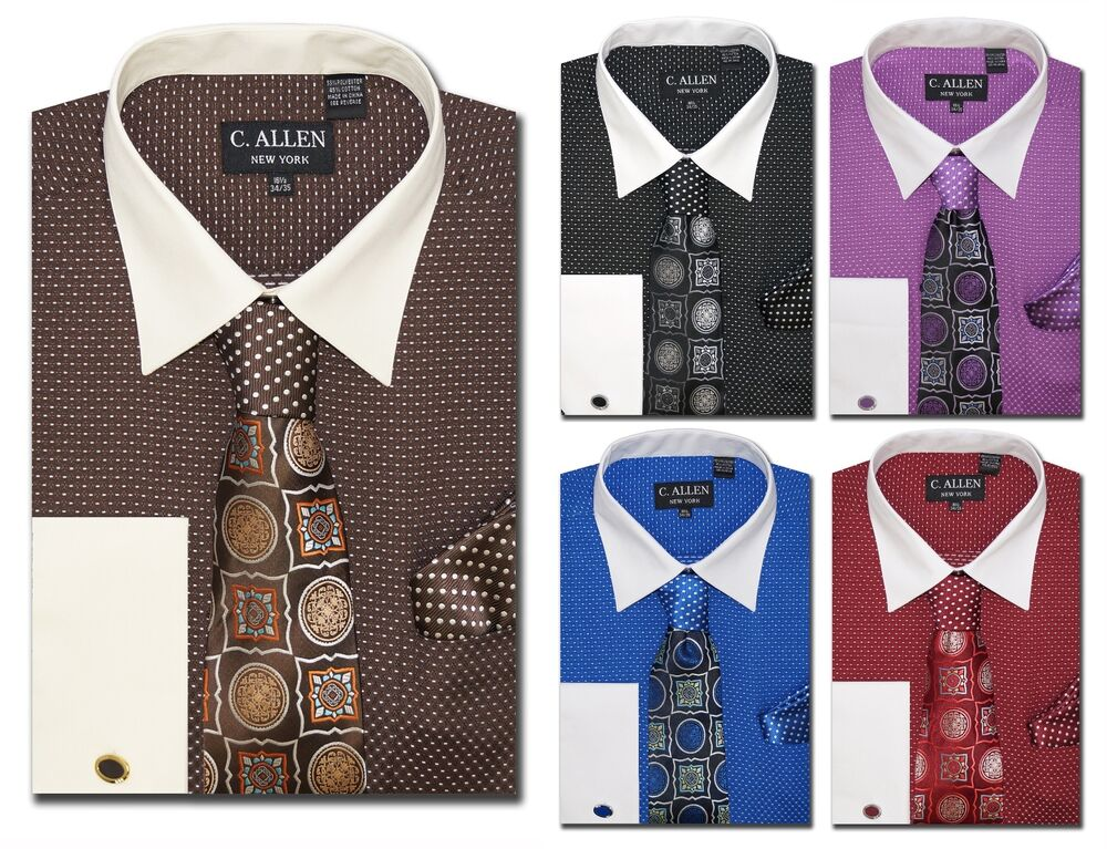 C allen mens dress shirt tie combo french cuff black for Dress shirts and tie combos sale