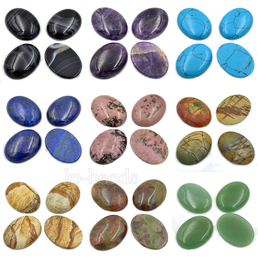 30x40mm large oval cabochon cab flatback semi precious for Flat stones for crafts