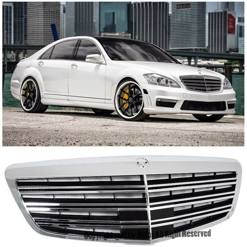 For 07 13 mercedes benz w221 s class front bumper hood amg for Mercedes benz chrome accessories