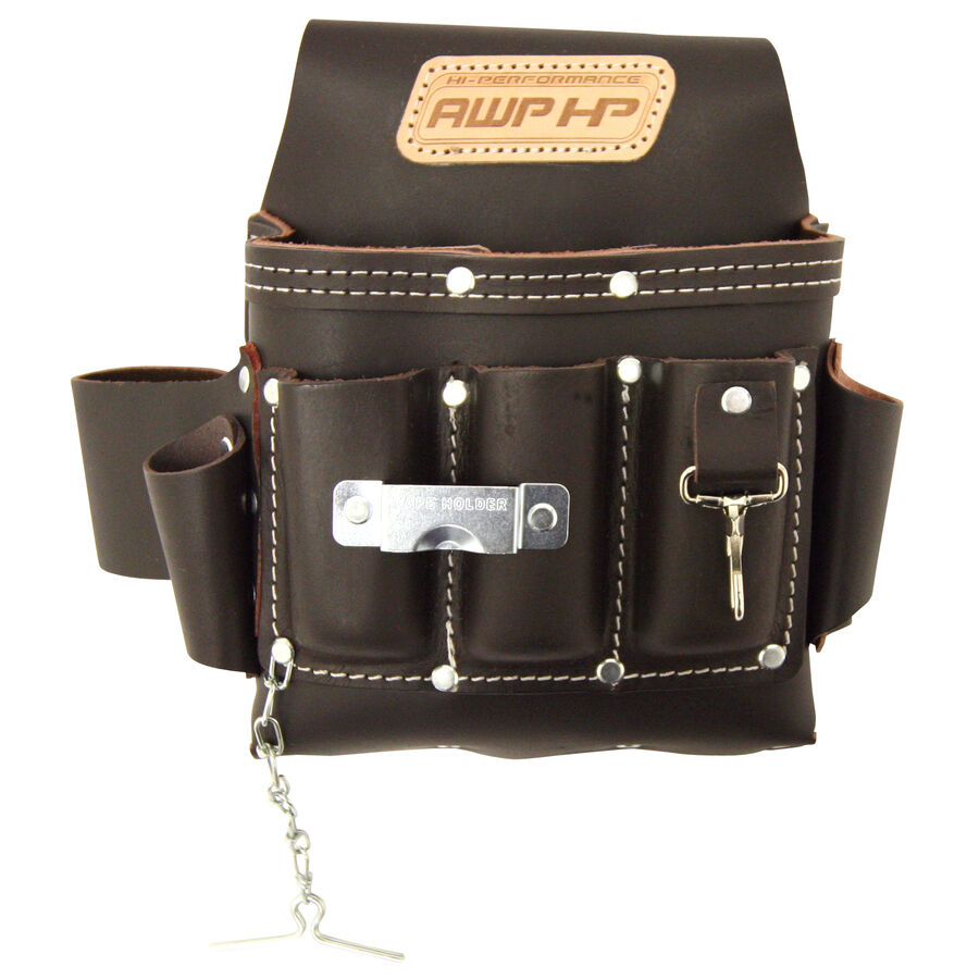 Leather Wall Equipment Holder: Adjustable Leather Electrician Tool Belt Pocket Pouch Bag