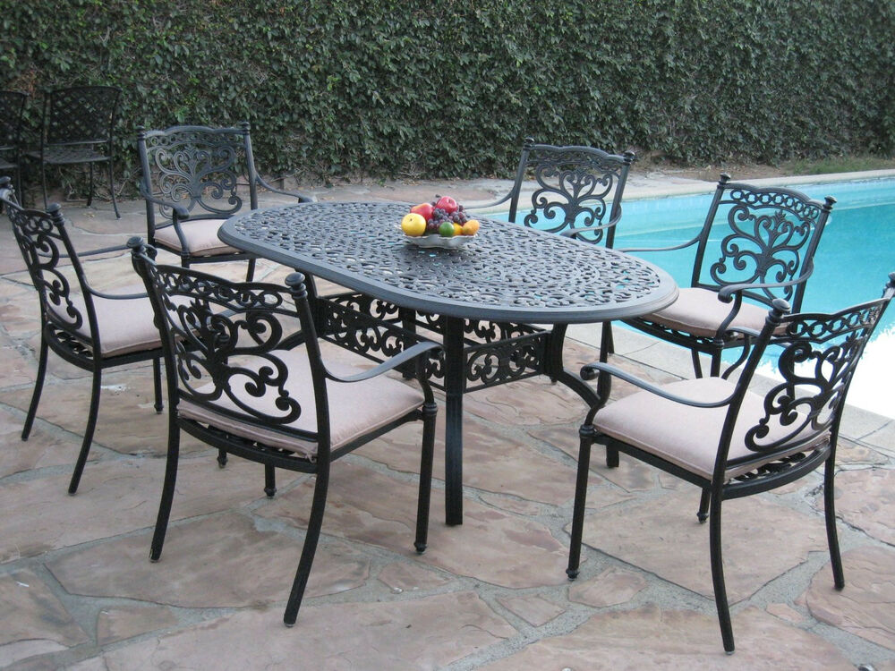 Patio Chairs Set Of 6: Outdoor Patio Furniture 7 Piece Aluminum Dining Set With 6