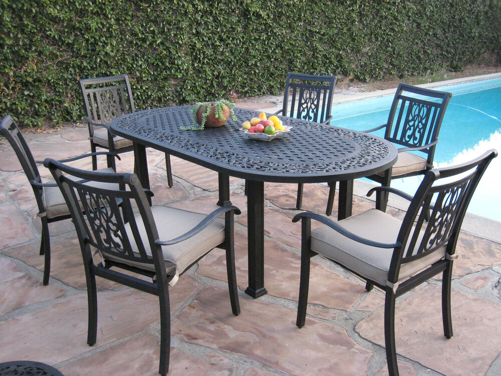heaven outdoor patio 7 piece cast aluminum dining set o ebay