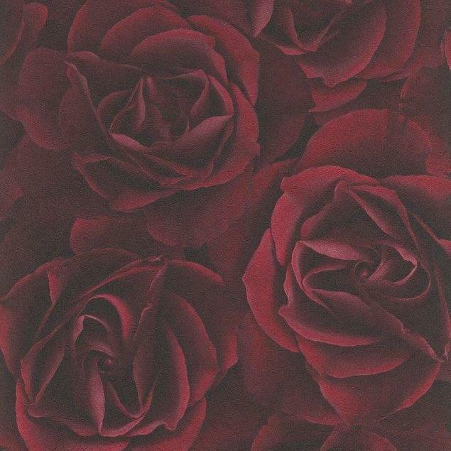 Dark Red Rose Wallpaper Feature Wall Luxury Paste the Wall ...