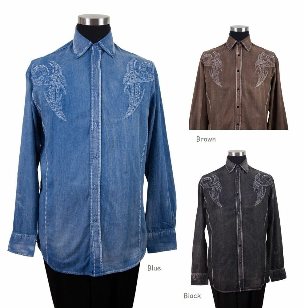 New men 39 s casual cotton embroidered western shirt 43 for Black brown mens shirts