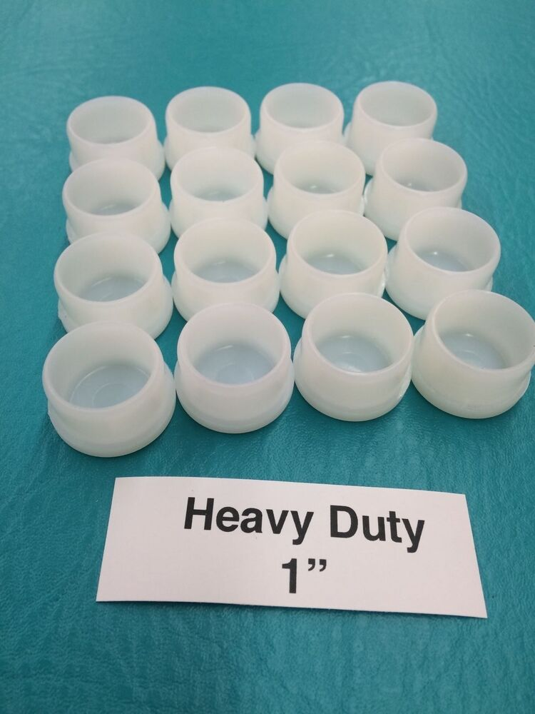 16 Plastic White Patio Chair Table Tube Feet Inserts Cups