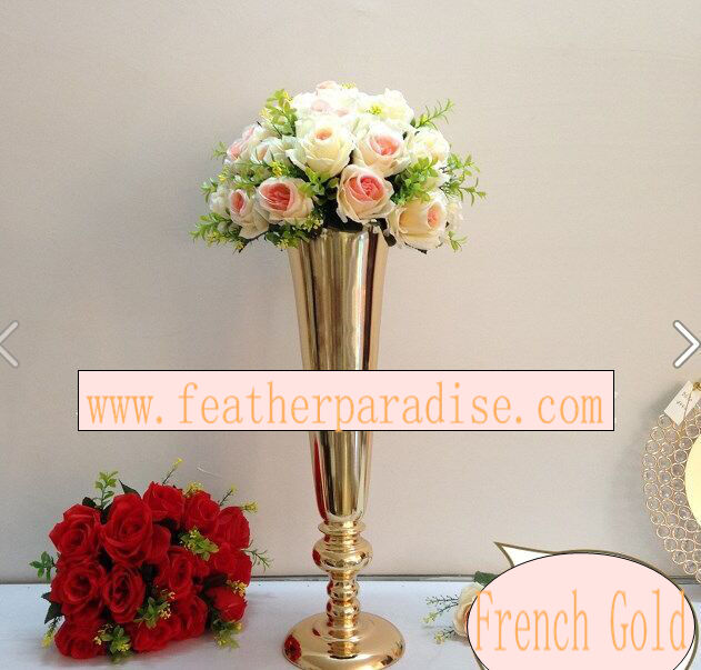 Gold tall trumpet metal vases centerpiece floral