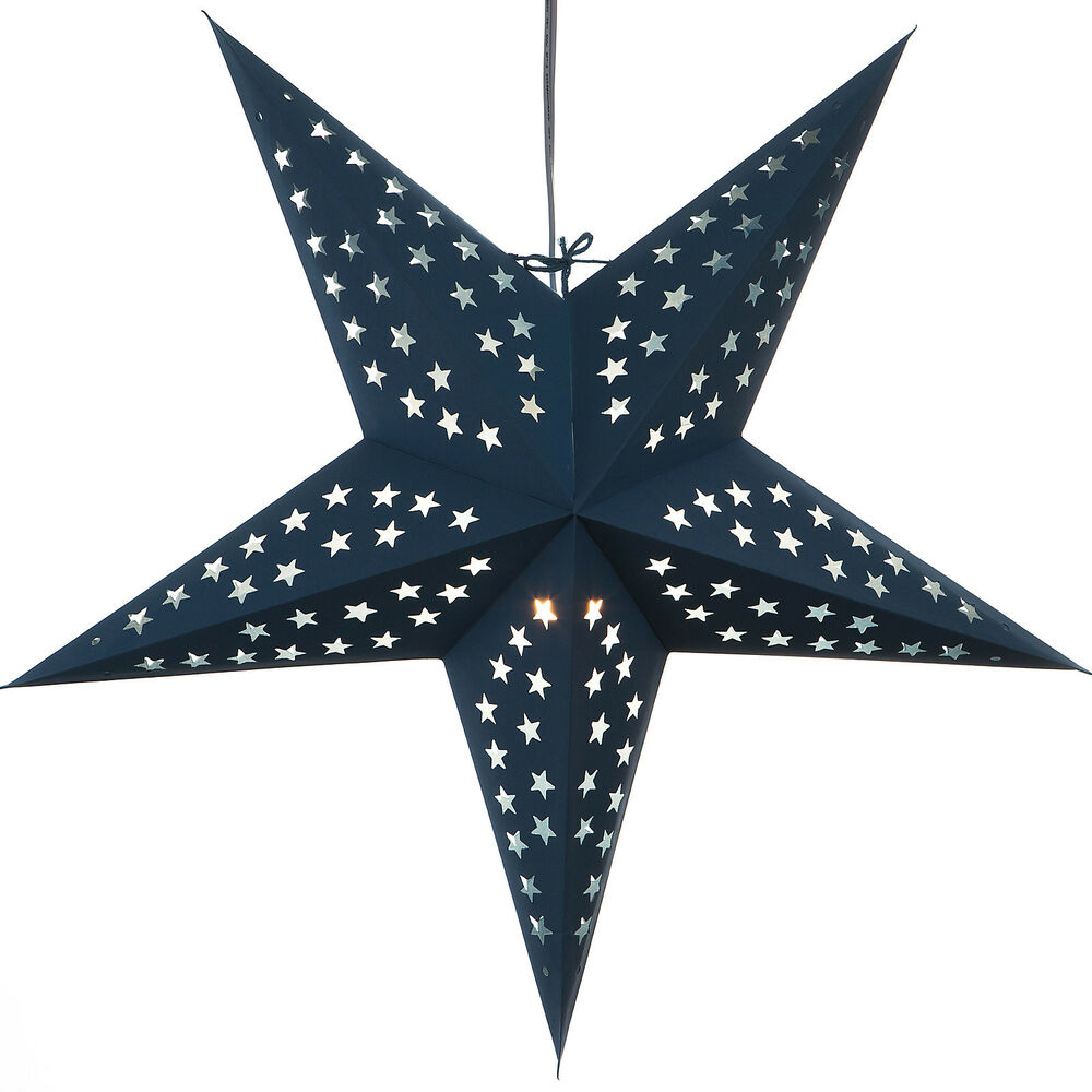 Solid blue paper star light lamp lantern with 12 foot cord for Paper star lamp