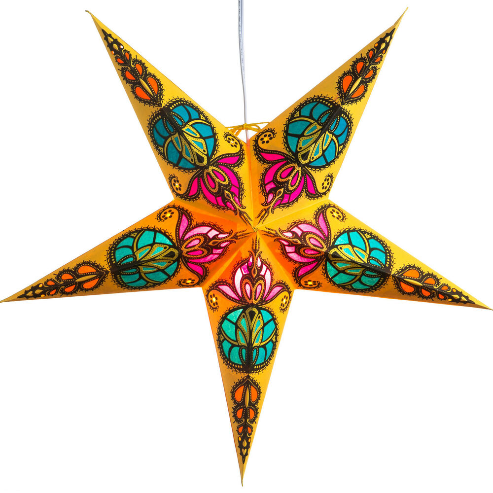 Trishul paper star light lamp lantern with 12 foot cord for Paper star lamp