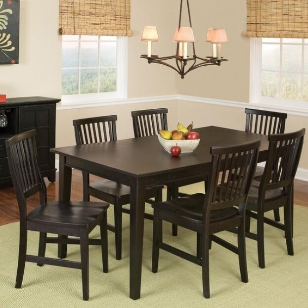 7 pc black dining room set wood kitchen furniture table for Kitchen table set 6 chairs