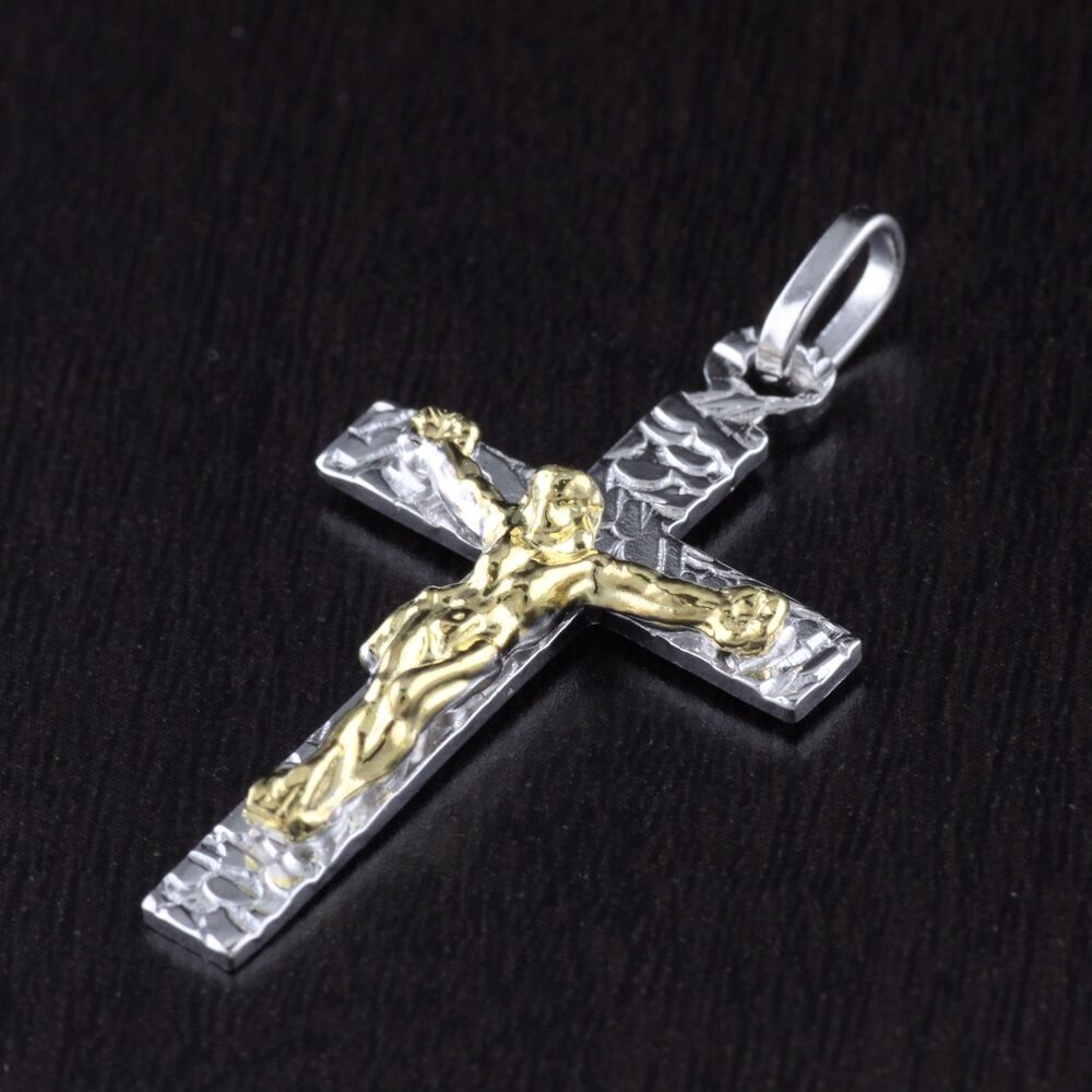 unisex womens mens solid 925 sterling silver jesus cross. Black Bedroom Furniture Sets. Home Design Ideas
