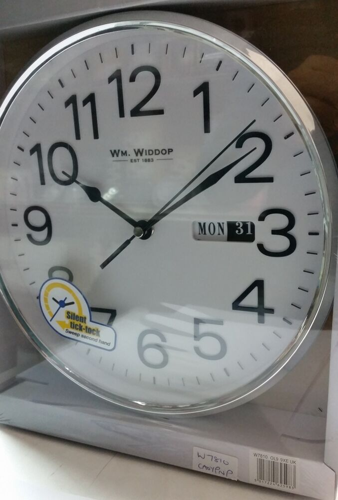 Wm Widdop Silent Sweep Second Hand Bold Numbers Wall Clock