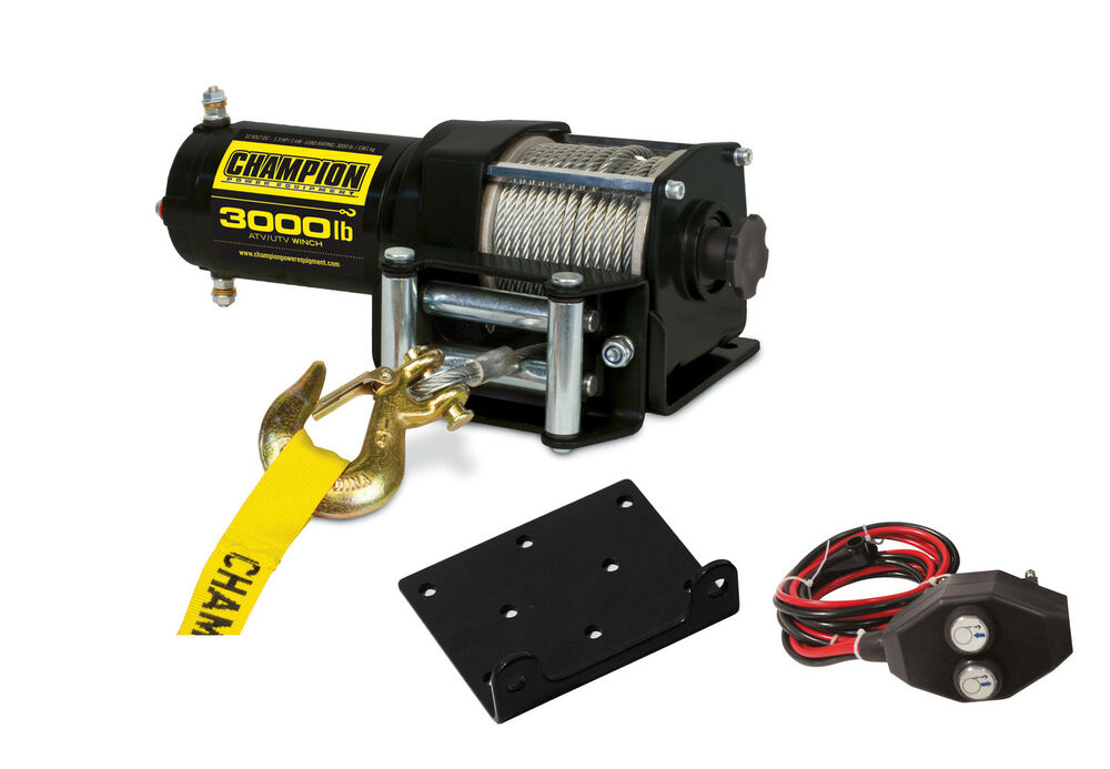 Champion Power Equipment 3 000 Lb Atv Utv Power Winch Kit