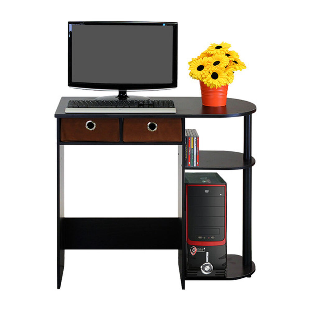 Small Computer Desk Writing Laptop Table Drawers Espresso