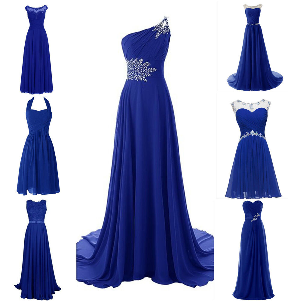 New royal blue plus size chiffon wedding bridesmaid dress for Royal blue and silver wedding dresses