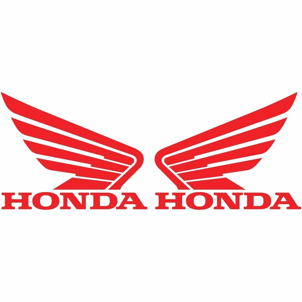 2 honda wing logo red decals motorcycle racing car sticker right left set two ebay. Black Bedroom Furniture Sets. Home Design Ideas