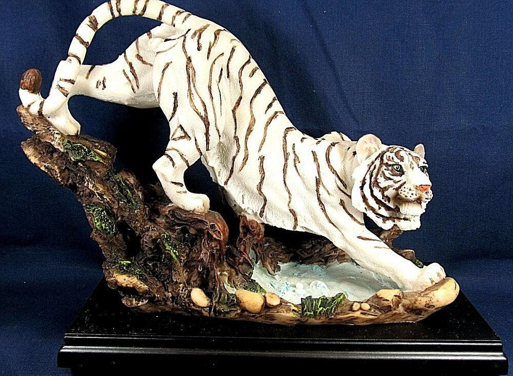 White Tiger At The Watering Hole Wildlife Collectible