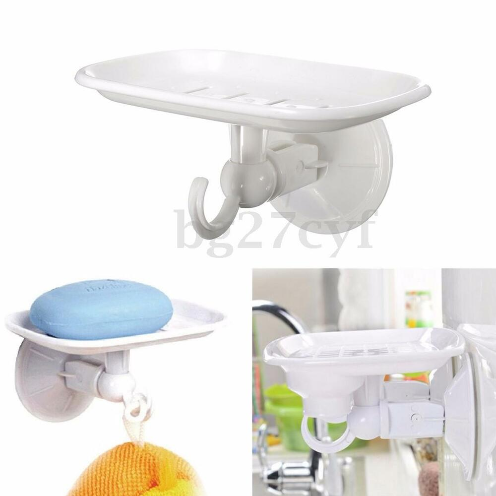 Durable Suction Cup Plastic Wall Soap Holder Dish Basket