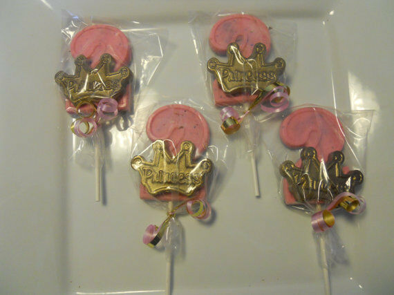 Details About 16 Princess Gold Crown 2nd Birthday Gourmet Chocolate Lollipops Party Favors