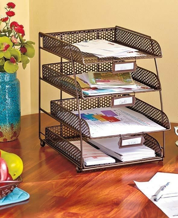 Bronze Mesh Desktop File Organizer Tray Office Supply