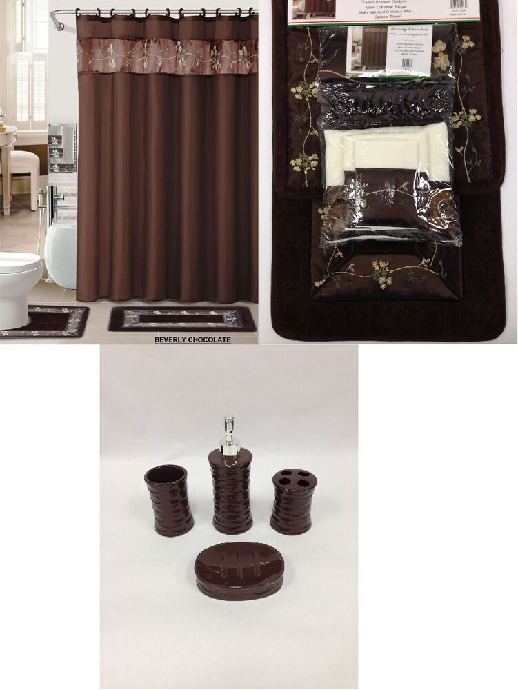 22Pc Bath Accessories Ceramic Set Coffee Brown Bathroom