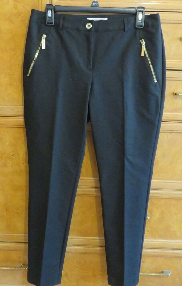 Women S Michael Kors Black Dress Pants Gold Zippers Size 6