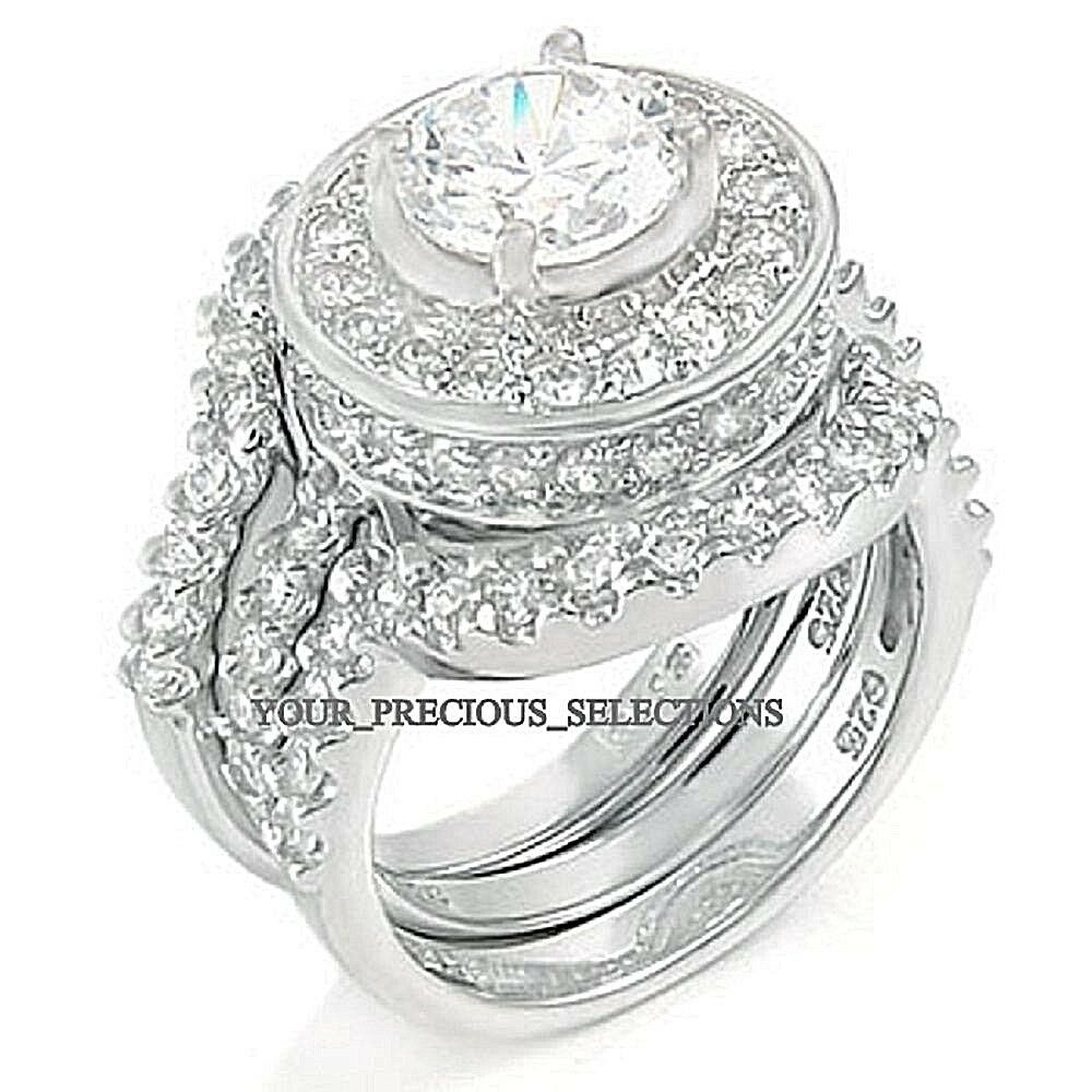 cz wedding ring sets sterling silver 925 halo wedding engagement cz ring 3280