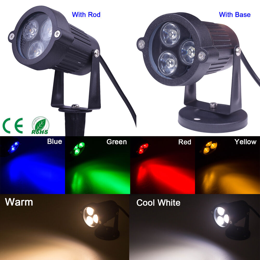6 color 9w led flood lights landscape garden yard path flood spot light rod ip65 ebay. Black Bedroom Furniture Sets. Home Design Ideas
