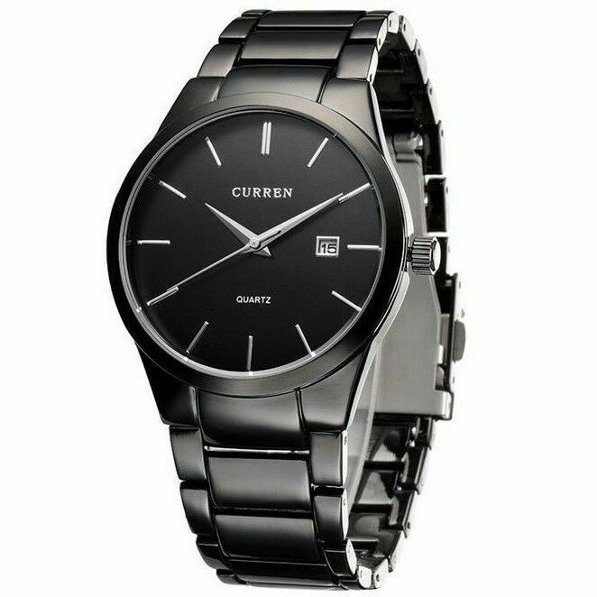 curren men fashion military stainless steel analog date