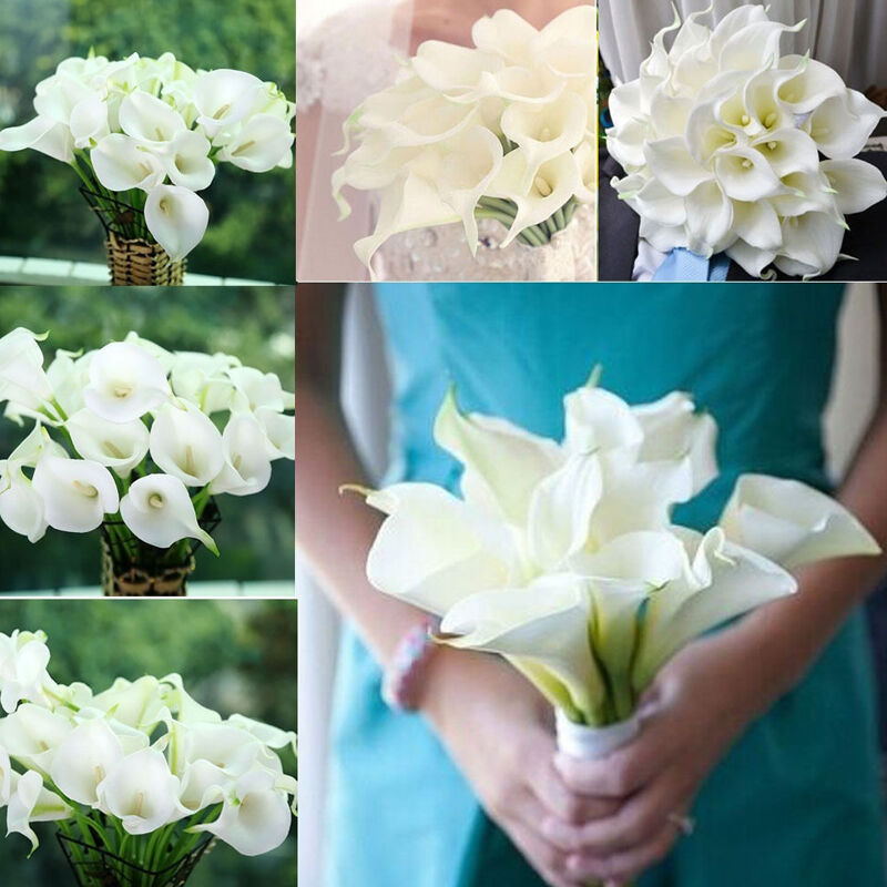 Real Vs Fake Flowers Wedding: Hot Artificial Calla Lily Wedding Bridal Bouquet Fake