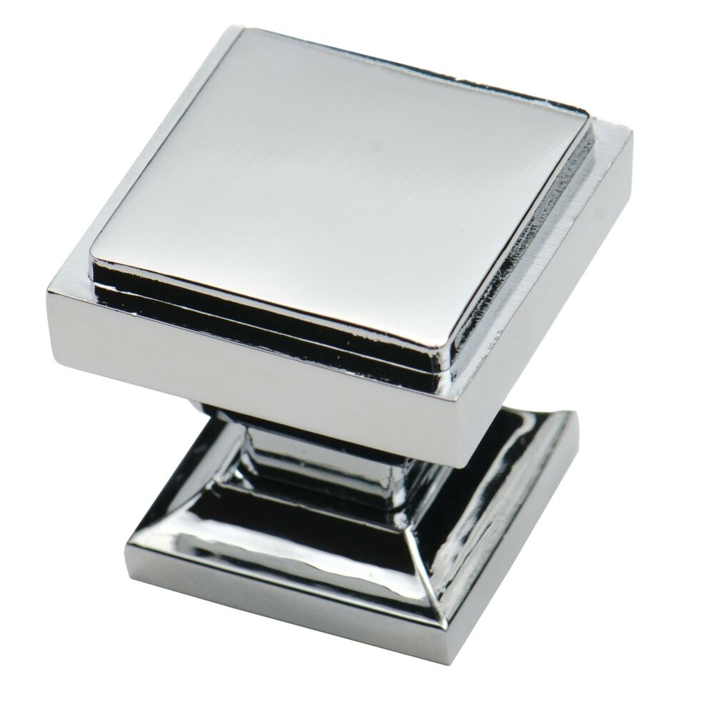 Southern hills polished chrome square cabinet knobs pack for Kitchen cabinets knobs