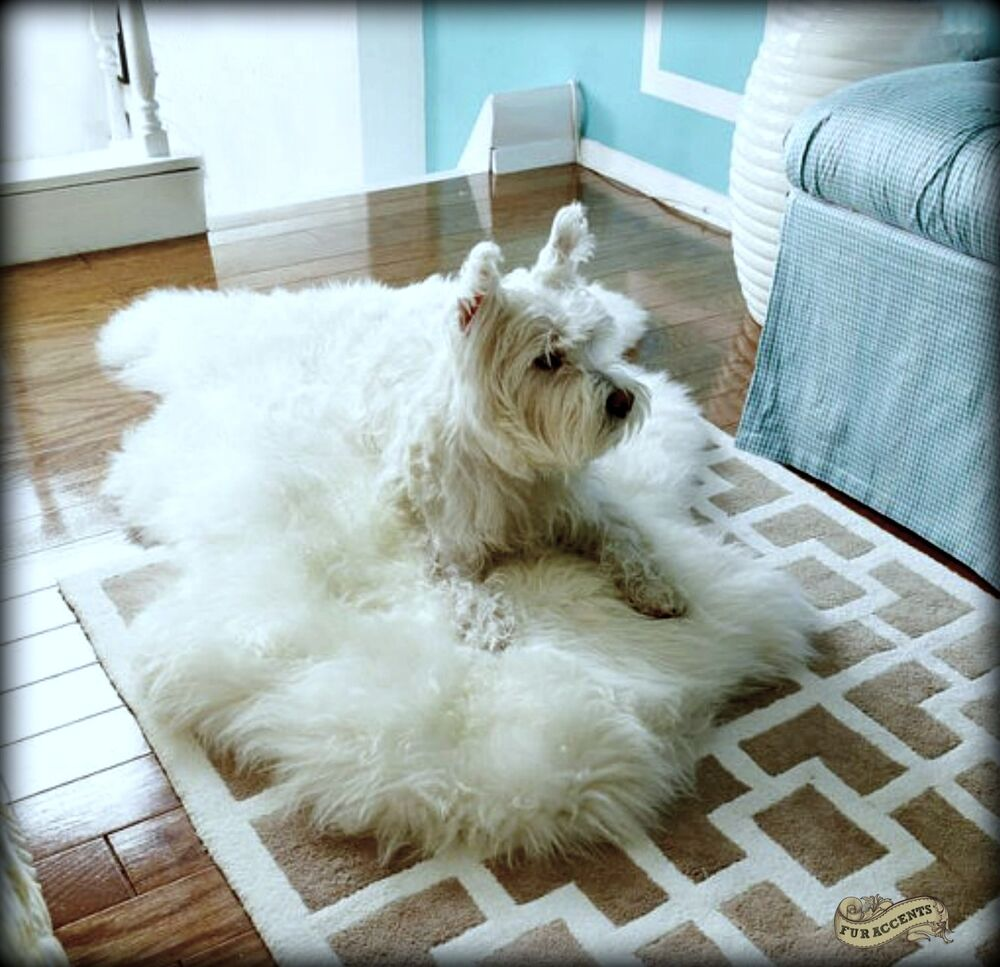 Thick Shaggy White Sheepskin Faux Fur Area Rug / Plush