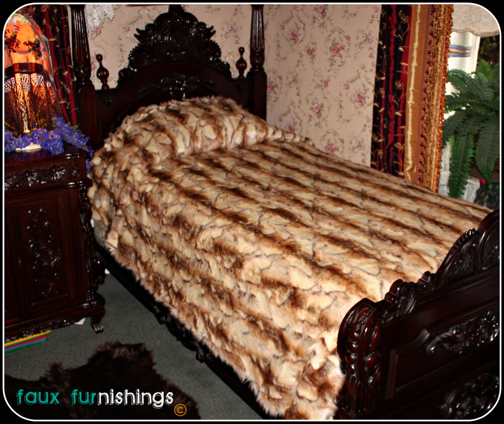 KING EXOTIC RABBIT BEDSPREAD, ACCENT RUGS, FAKE FAUX FUR