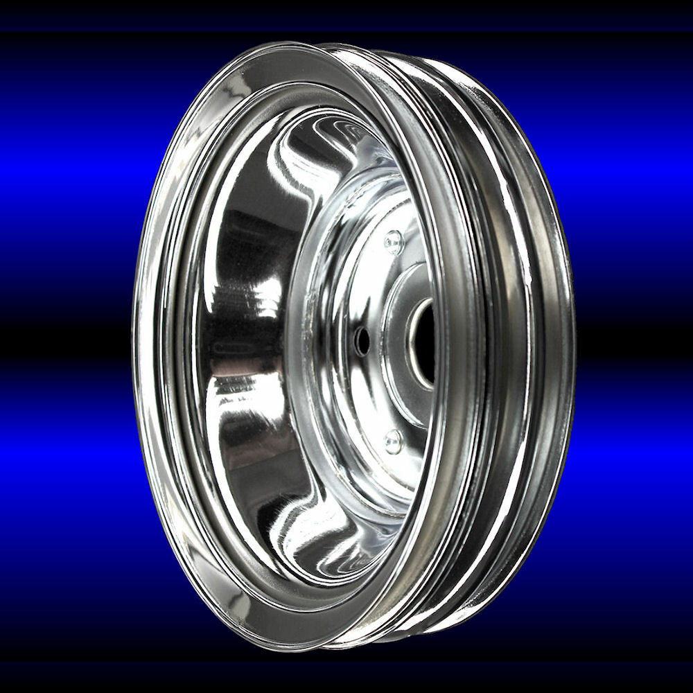 Chrome 3 Groove Crankshaft Pulley Fits Small Block Chevy
