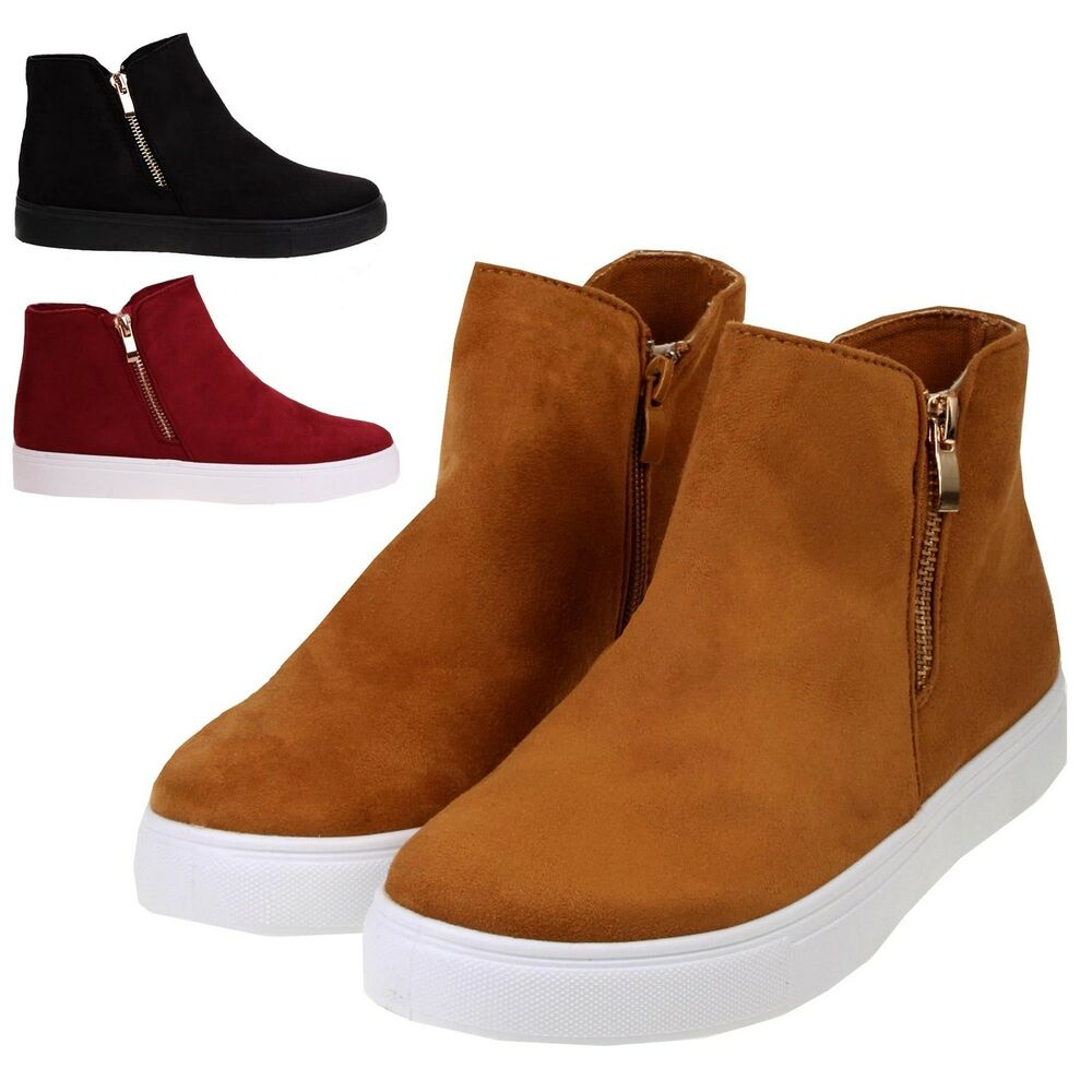 Womens Faux Suede Flat Low Heel Casual Sports Trainer Pumps Zip Up ...