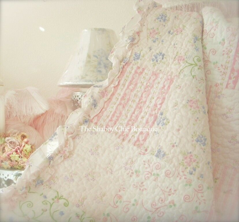 Queen Quilt Set Shabby Patchwork Vintage Pink & Periwinkle