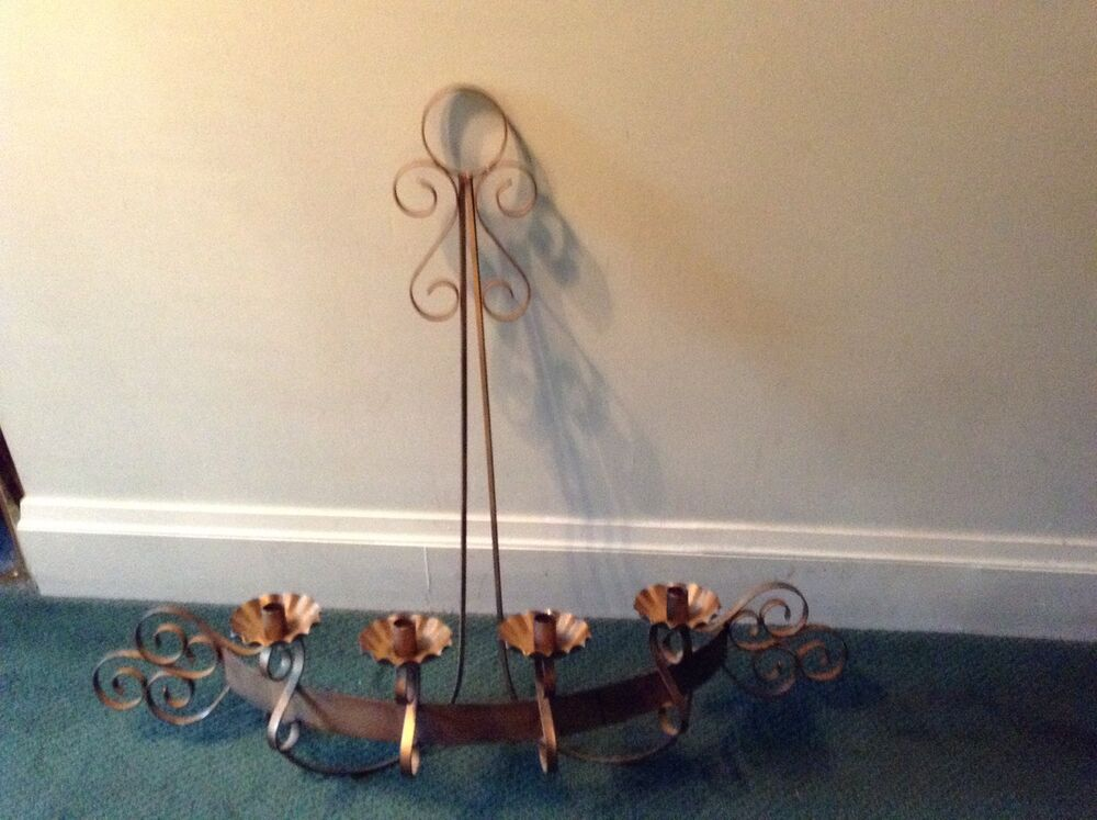 Scrolled Metal Wall Candleholder Large Wrought Iron Candle