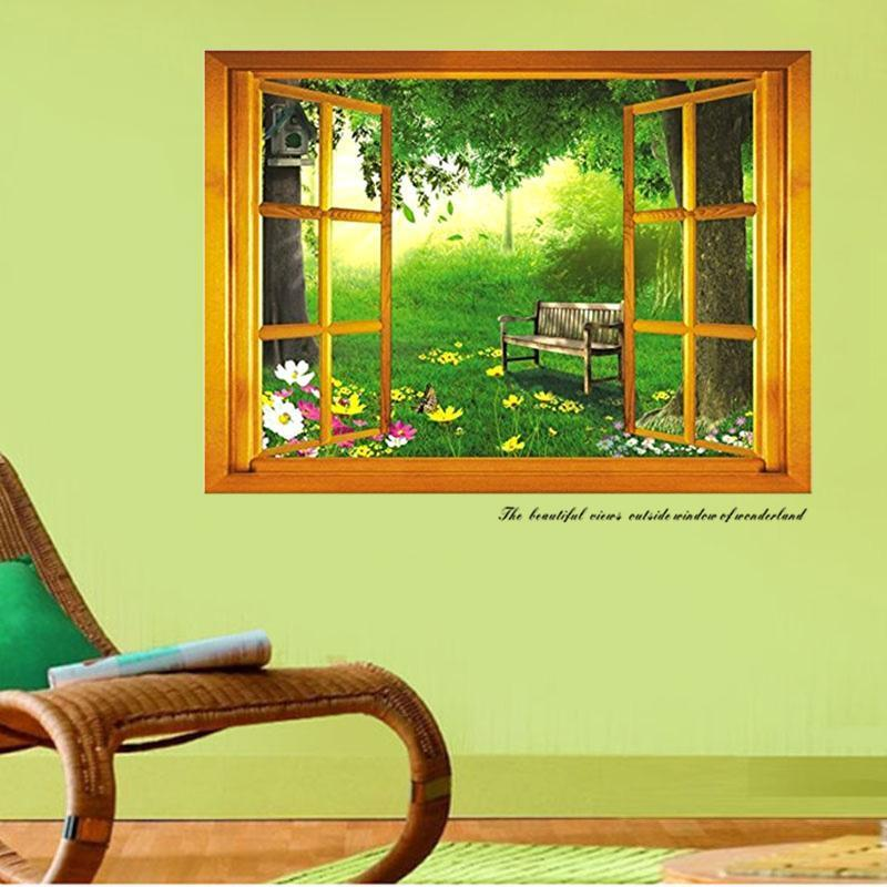 3d green forest window view wall sticker art vinyl decal for Bay view wall mural