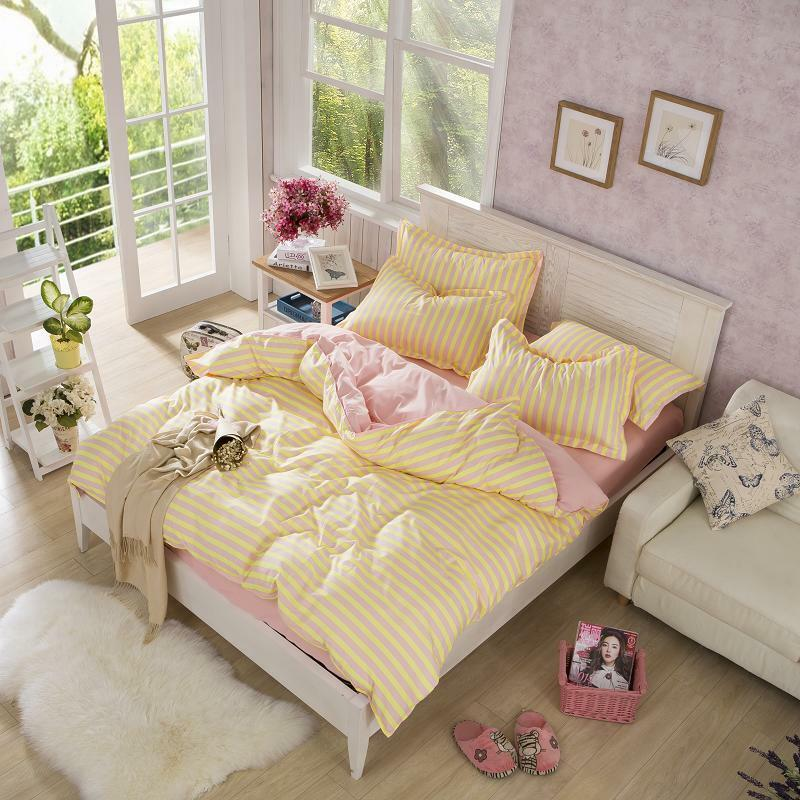 Pink yellow striped duvet quilt cover qeen bedding set - Pink and yellow comforter ...