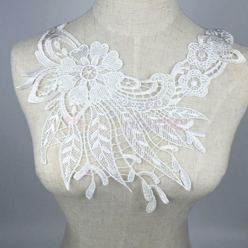 Embroidered lace neckline collar trims sew bridal dress for Embroidered lace wedding dress