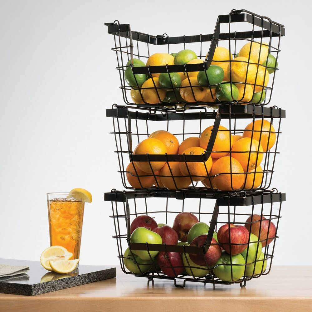 giftburg stacking baskets set of 3 storage fruit rack. Black Bedroom Furniture Sets. Home Design Ideas