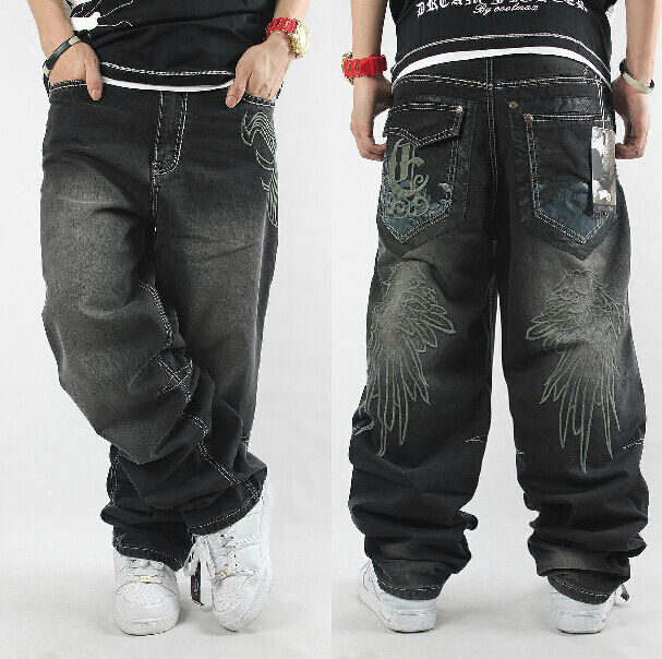 30 42 mens long hiphop jeans denim baggy loose pants trousers embroidery hip hop ebay. Black Bedroom Furniture Sets. Home Design Ideas