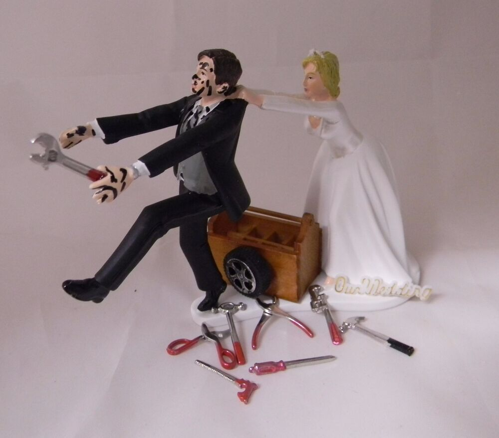 grease monkey wedding cake topper wedding reception mechanic tools grease tire tool box 14906